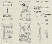 Technical Art Drawings Prints - Rock Band Patent Collection Print by PatentsAsArt