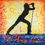 Singer Painting Originals - Rock Band Singer Abstract Art by Bob Baker