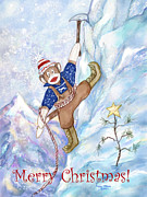 Climbing Mixed Media Posters - Rock Climbing Sock Monkey Poster by Peggy Wilson