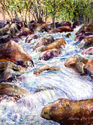 Waterfalls Paintings - Rock Creek by Bette Orr