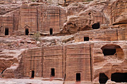 Facades Posters - Rock cut tombs on the Street of Facades in Petra Jordan Poster by Robert Preston