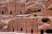 Rock Cut Tombs On The Street Of Facades In Petra Jordan Print by Robert Preston
