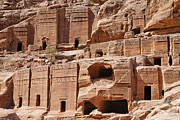 Facades Posters - Rock cut tombs on the Street of Facades Petra Jordan Poster by Robert Preston