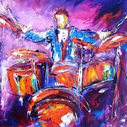 Most Popular Framed Prints Posters - Rock drummer spotlight Poster by Mary Cahalan Lee