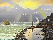 Sun Rays Painting Originals - Rock Fishing at Wombarra  by Pamela  Meredith