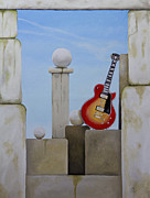 Stacked Paintings - Rock Guitar Les Paul Custom by John Stuart Webbstock