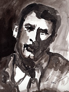 Faces Paintings - Rock Hudson Watercolor Sketch by Ginette Callaway