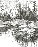 Canoe Drawings Metal Prints - Rock Lake.Algonquin Provincial Park Metal Print by Madelaine Alter