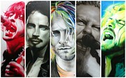 Celebrities Painting Metal Prints - Rock Montage I Metal Print by Christian Chapman Art