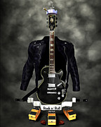 Frederico Borges Metal Prints - Rock N Roll crest-The guitarist Metal Print by Frederico Borges
