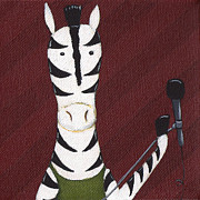 Rock And Roll Painting Posters - Rock n Roll Zebra Poster by Christy Beckwith