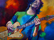 Electric Guitar Painting Originals - Rock On by Terri Haugen
