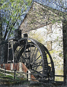 Grist Mill Drawings Posters - Rock Run Mill Poster by Sid Weaver