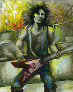 Electric Guitar Painting Originals - Rock Star by Jessica Sturges