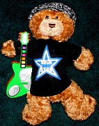 Toy Guitar Posters - Rock Star Teddy Bear Poster by Gail Matthews