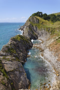 Layer Prints - Rock strata on the Jurassic Coast Dorset England Print by Robert Preston