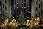 Nightscapes Framed Prints - Rockefeller Center Christmas Tree Framed Print by Susan Candelario