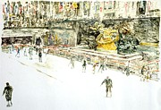 Ice Rink Posters - Rockefeller Center Skaters Poster by Anthony Butera