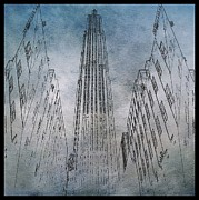 Midtown Digital Art Framed Prints - Rockefeller Center Sketch Framed Print by Dan Sproul