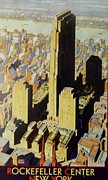 Highrise Mixed Media Prints - Rockefeller Center View Print by Gunter  Hortz