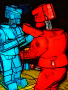 Fighting Digital Art Prints - Rockem Sockem Robots - Color Sketch Style - version 1 Print by Wingsdomain Art and Photography