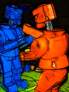 Boxing Digital Art Metal Prints - Rockem Sockem Robots - Color Sketch Style - version 3 Metal Print by Wingsdomain Art and Photography