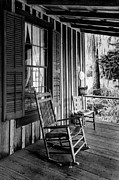 Ladderback Chair Posters - Rocker on the Veranda Poster by Lynn Palmer