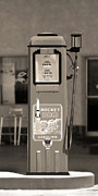 Sepia Posters - Rocket 100 Gasoline - Tokheim Gas Pump 2 Poster by Mike McGlothlen