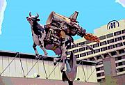 Sculptures Mixed Media Prints - Rocket Cow Sculpture by Michael Bingham Print by Steve Ohlsen