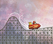 Speed Digital Art Prints - Rocket Me Rollercoaster Print by Dennis Wunsch