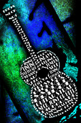 Frets Digital Art Prints - Rockin Guitar In Blue And Green Print by Andee Photography