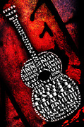 Saddle Mixed Media Posters - Rockin Guitar In Red Typography Poster by Andee Photography