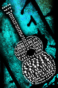 Frets Digital Art Prints - Rockin Guitar In Teal Print by Andee Photography