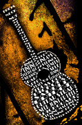 Frets Digital Art Prints - Rockin Guitar In Yellow Print by Andee Photography