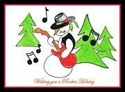 Season Pastels Posters - Rockin Holiday Snowman Poster by Chris Fraser