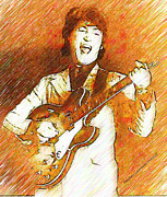 John Lennon Drawings - Rockin John Lennon by Stephen Lawrence Mitchell
