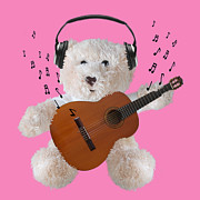 Toy Guitars Prints - Rockin Teddy Print by Gill Billington