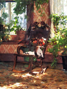 Rocking Chairs Metal Prints - Rocking Chair in Victorian Parlor Metal Print by Susan Savad