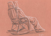 Chair Drawings Originals - Rocking Chair by Jeffrey Oleniacz