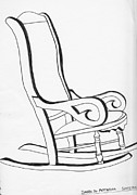 Chair Drawings Framed Prints - Rocking chair Framed Print by Sarah Hamilton