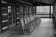 Rocking Chairs Framed Prints - Rocking Chairs BW Framed Print by Dustin Bridges