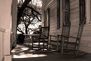 Front Porch Prints - Rocking Chairs Print by Cathie Crow