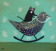 Starlings Paintings - Rocking Starling by Ryan Conners