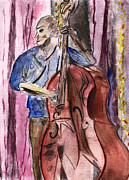 Jazz Paintings - Rockn the Big Bass by Elizabeth Briggs