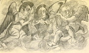 John Lennon  Drawings - RockNRoll Heaven by Nell Stockdall