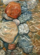 Pebbles Metal Prints - Rockpool Metal Print by David Stribbling