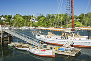 Docked Sailboat Posters - Rockport Harbor and Boats on The Coast Of Maine Poster by Keith Webber Jr