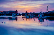 Boats In Harbor Framed Prints - Rockport harbor sunrise over Motif #1 Framed Print by Jeff Folger