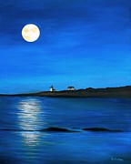 Sea Moon Full Moon Painting Originals - Rockport Harvest Moon by Eileen Patten Oliver