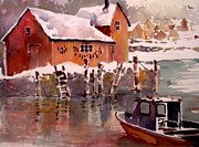 New England Snow Scene Paintings - Rockport in Winter by Jerry Aissis